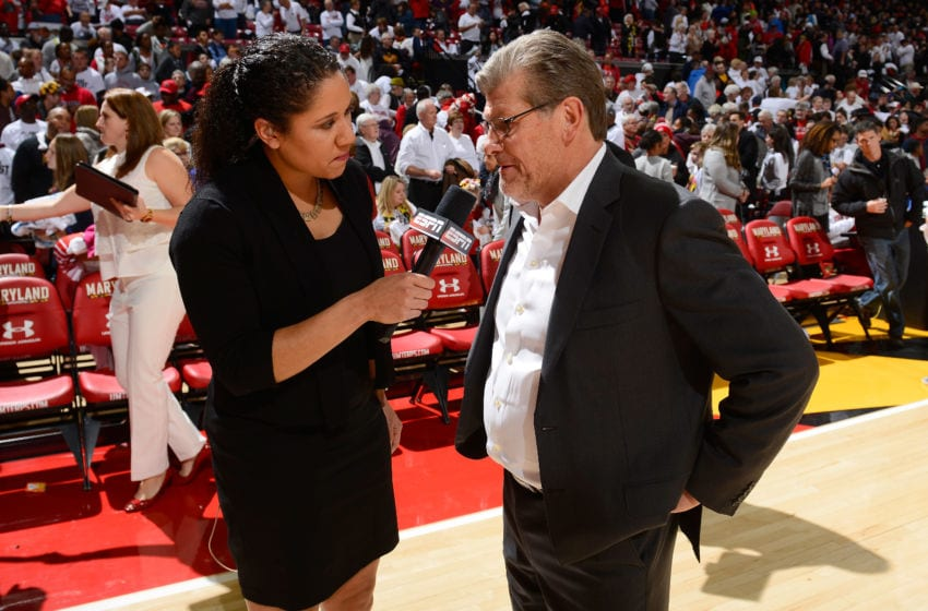 COLLEGE PARK, MD - DECEMBER 29: Head coach Geno Auriemma of the Connecticut Huskies talks to Kara Lawson after the game against the Maryland Terrapins at Xfinity Center on December 29, 2016 in College Park, Maryland. (Photo by G Fiume/Maryland Terrapins/Getty Images)