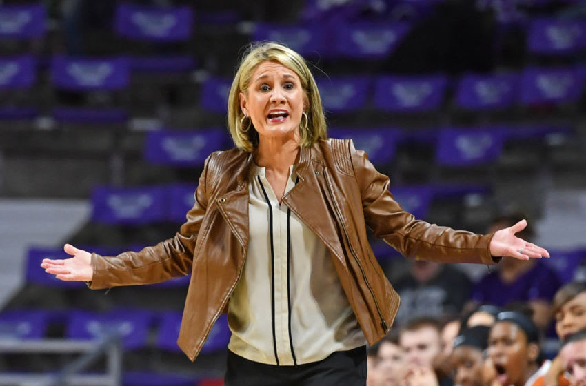 MANHATTAN, KS - FEBRUARY 27: Head coach Karen Aston of the Texas Longhorns reacts after a call against the Longhorns during the second half against the Kansas State Wildcats on February 27, 2017 at Bramlage Coliseum in Manhattan, Kansas. Texas defeated Kansas State 69-61. (Photo by Peter G. Aiken/Getty Images)