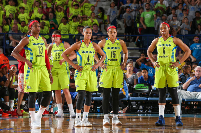ROSEMONT, IL - JULY 12: The Dallas Wings look down court against the Chicago Sky on July 12, 2017 at Allstate Arena in Rosemont, IL. NOTE TO USER: User expressly acknowledges and agrees that, by downloading and/or using this Photograph, user is consenting to the terms and conditions of the Getty Images License Agreement. Mandatory Copyright Notice: Copyright 2017 NBAE (Photo by Gary Dineen/NBAE via Getty Images)