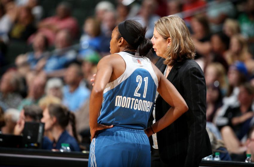 MINNEAPOLIS, MN - JULY 16: Cheryl Reeve of the Minnesota Lynx talks with Renee Montgomery