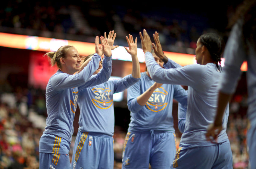 UNCASVILLE, CONNECTICUT- JULY 25: The Chicago Sky team high five before the Connecticut Sun Vs Chicago Sky, WNBA regular season game at Mohegan Sun Arena on July 25, 2017 in Uncasville, Connecticut. (Photo by Tim Clayton/Corbis via Getty Images)