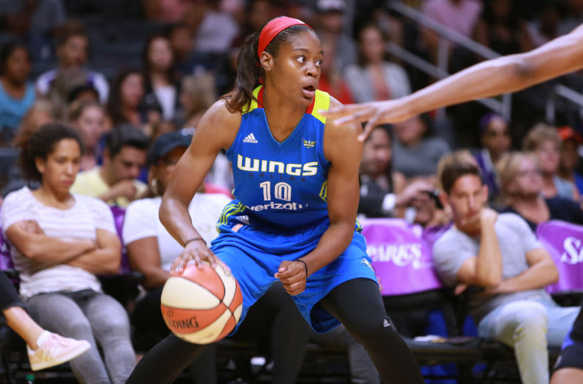 LOS ANGELES, CA - JULY 30: Kaela Davis #10 of the Dallas Wings handles the balll against the Los Angeles Sparks during a WNBA basketball game at Staples Center on July 30, 2017 in Los Angeles, California. (Photo by Leon Bennett/Getty Images)