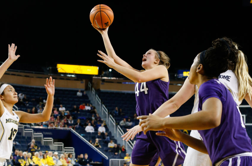 ANN ARBOR, MI - FEBRUARY 08: Northwestern Wildcats forward Abi Scheid (44) goes in for a layup during a regular season Big 10 Conference basketball game between the Northwestern Wildcats and the Michigan Wolverines on February 8, 2018 at the Crisler Center in Ann Arbor, Michigan.(Photo by Scott W. Grau/Icon Sportswire via Getty Images)