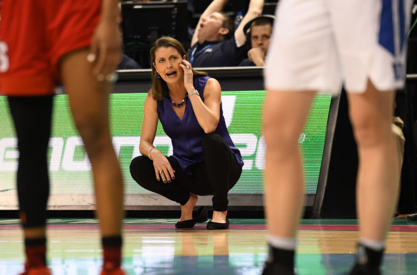 GREENSBORO, NC - MARCH 02: Duke Blue Devils head coach Joanne P. McCallie calls out instructions during the ACC women's tournament game between the NC State Wolfpack and the Duke Blue Devils on March 2, 2018, at Greensboro Coliseum Complex in Greensboro, NC. (Photo by William Howard/Icon Sportswire via Getty Images)
