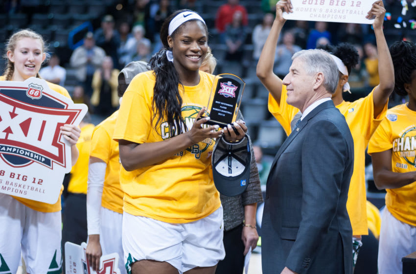 OKLAHOMA CITY, OK - MARCH 05: Baylor (21) Kalani Brown receiving the Big 12 Most Valuable Player award from the Texas vs Baylor game during the Big 12 Women's Championship on March 05, 2018 at Chesapeake Energy Arena in Oklahoma City, OK. (Photo by Torrey Purvey/Icon Sportswire via Getty Images)