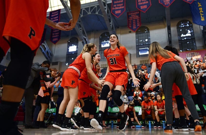 PHILADELPHIA, PA - MARCH 11: Bella Alarie #31 of the Princeton Tigers is introduced before the game at The Palestra on March 11, 2018 in Philadelphia, Pennsylvania. Princeton defeated Penn 63-34. (Photo by Corey Perrine/Getty Images)