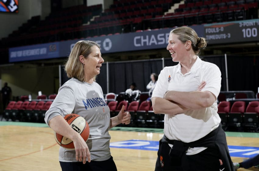 WHITE PLAINS, NY - MAY 25: Cheryl Reeve of the Minnesota Lynx talks with Katie Smith of the New York Liberty before the game between the two teams on May 25, 2018 at Westchester County Center in White Plains, New York. NOTE TO USER: User expressly acknowledges and agrees that, by downloading and or using this photograph, User is consenting to the terms and conditions of the Getty Images License Agreement. Mandatory Copyright Notice: Copyright 2018 NBAE (Photo by Steve Freeman/NBAE via Getty Images)