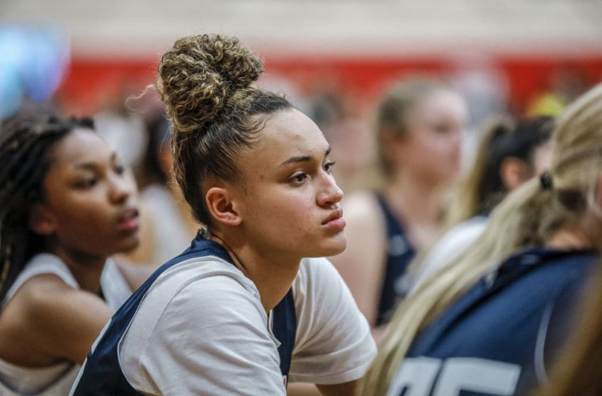 COLORADO SPRINGS, CO - MAY 25: Celeste Taylor #36 of Valley Stream, N.Y. listens on while participating in tryouts for the 2018 USA Basketball Women's U17 World Cup Team at the United States Olympic Training Center in Colorado Springs, Colorado. Finalists for the team will be announced on May 28 and will remain in Colorado Springs for training camp through May 30. (Photo by Marc Piscotty/Icon Sportswire via Getty Images)