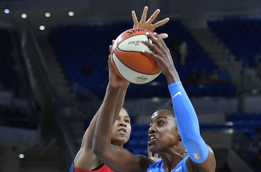 CHICAGO, IL - JUNE 22: Chicago Sky guard Diamond DeShields (1) shoots Washington Mystics guard Tierra Ruffin-Pratt (14) on June 22, 2018 at the Wintrust Arena in Chicago, Illinois. (Photo by Quinn Harris/Icon Sportswire via Getty Images)