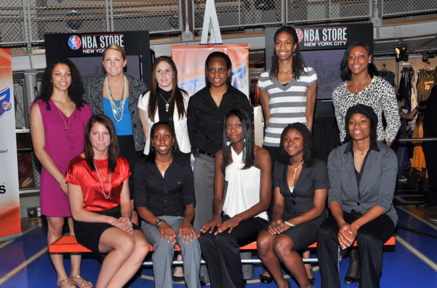 NEW YORK - APRIL 07: (L-R) Alysha Clark of Middle Tennessee State, Kelsey Griffin of Nebraska, Jayne Appel of Stanford, Allison Hightower of Louisiana State, Alison Lacey of Iowa State, Danielle McCray of Kansas, Chanel Mokango of Mississippi State, Jacinta Monroe of Florida State, Andrea Riley of Oklahoma State, Monica Wright of Virginia and Amanda Thompson of Oklahoma attend the 2010 WNBA Draft celebration at the NBA Store on April 7, 2010 in New York City. (Photo by Henry S. Dziekan III/Getty Images)
