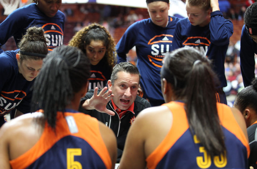 UNCASVILLE, CONNECTICUT- MAY 05: Curt Miller, Connecticut Sun Head Coach talks to his players during a time out during the San Antonio Stars Vs Connecticut Sun preseason WNBA game at Mohegan Sun Arena on May 05, 2016 in Uncasville, Connecticut. (Photo by Tim Clayton/Corbis via Getty Images)
