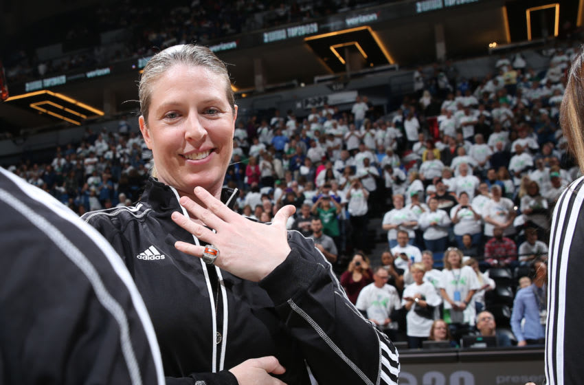 MINNEAPOLIS, MN - OCTOBER 9: Katie Smith honoree of the WNBA Top 20@20 ceremony presented by Verizon shows off her ring during halftime of Game 1 between the Minnesota Lynx and the Los Angeles Sparks during the WNBA Finals on October 9, 2016 at Target Center in Minneapolis, Minnesota. NOTE TO USER: User expressly acknowledges and agrees that, by downloading and or using this Photograph, user is consenting to the terms and conditions of the Getty Images License Agreement. Mandatory Copyright Notice: Copyright 2016 NBAE (Photo by David Sherman/NBAE via Getty Images)
