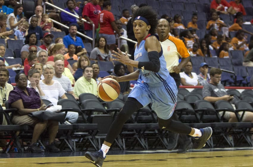 WASHINGTON, DC - JULY 19: Atlanta Dream guard Brittney Sykes (7) moves up court during a WNBA game between the Washington Mystics and the Atlanta Dream on July 19 2017, at Verizon Center, in Washington DC. The Mystics defeated the Dream 100-96 in OT. (Photo by Tony Quinn/Icon Sportswire via Getty Images)