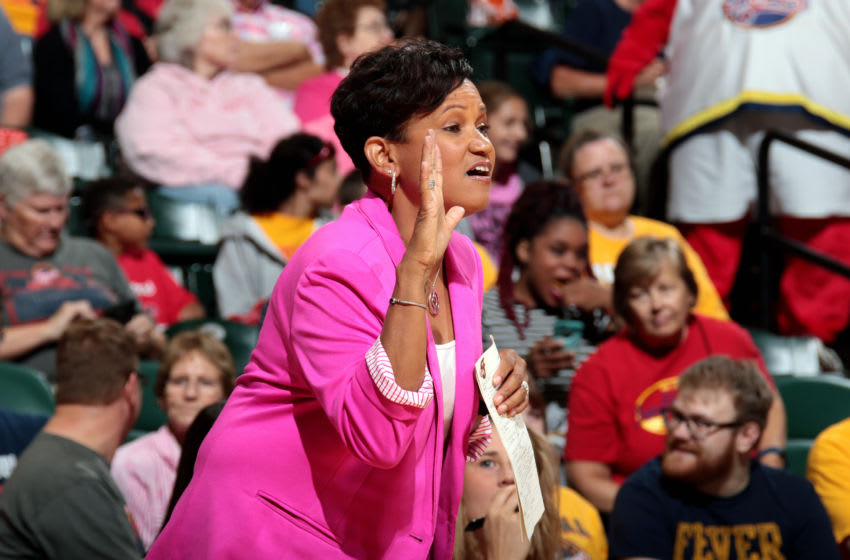 INDIANAPOLIS, IN - AUGUST 4: Pokey Chatman of the Indiana Fever calls out to her team during the game against the Chicago Sky during a WNBA game on August 4, 2017 at Bankers Life Fieldhouse in Indianapolis, Indiana. NOTE TO USER: User expressly acknowledges and agrees that, by downloading and or using this Photograph, user is consenting to the terms and conditions of the Getty Images License Agreement. Mandatory Copyright Notice: Copyright 2017 NBAE (Photo by Ron Hoskins/NBAE via Getty Images)