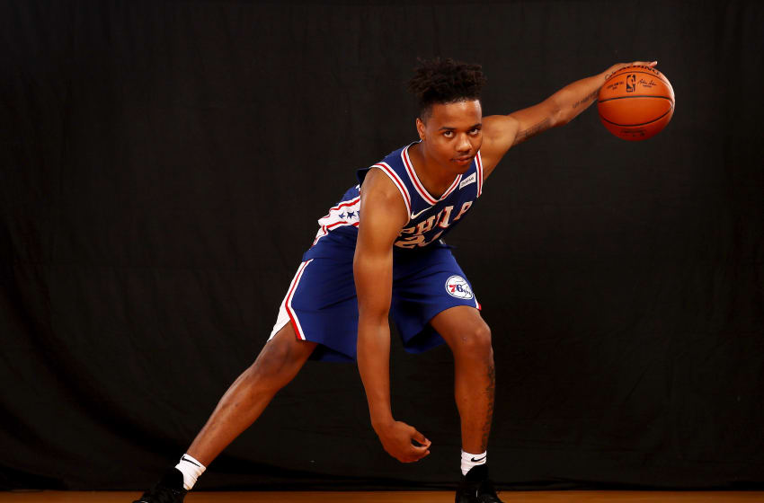 GREENBURGH, NY - AUGUST 11: Markelle Fultz of the 76ers poses for a portrait during the 2017 NBA Rookie Photo Shoot at MSG Training Center on August 11, 2017 in Greenburgh, New York. NOTE TO USER: User expressly acknowledges and agrees that, by downloading and or using this photograph, User is consenting to the terms and conditions of the Getty Images License Agreement. (Photo by Elsa/Getty Images)