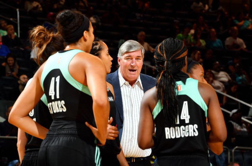 NEW YORK, NY - AUGUST 28: Bill Laimbeer of the New York Liberty talks with his team during the game against the Chicago Sky in a WNBA game on August 27, 2017 at Madison Square Garden in New York, New York. NOTE TO USER: User expressly acknowledges and agrees that, by downloading and or using this photograph, User is consenting to the terms and conditions of the Getty Images License Agreement. Mandatory Copyright Notice: Copyright 2017 NBAE (Photo by Jesse D. Garrabrant/NBAE via Getty Images)