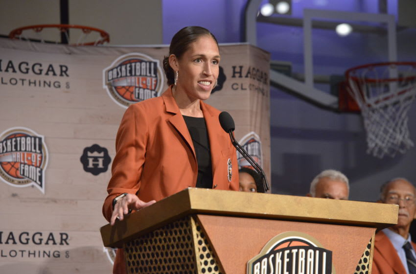 SPRINGFIELD, MA - SEPTEMBER 7: Inductee Rebecca Lobo speaks during the Class of 2017 Press Event as part of the 2017 Basketball Hall of Fame Enshrinement Ceremony on September 7, 2017 at the Naismith Memorial Basketball Hall of Fame in Springfield, Massachusetts. NOTE TO USER: User expressly acknowledges and agrees that, by downloading and/or using this photograph, user is consenting to the terms and conditions of the Getty Images License Agreement. Mandatory Copyright Notice: Copyright 2017 NBAE (Photo by David Dow/NBAE via Getty Images)