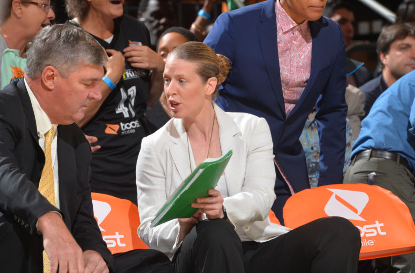 NEW YORK,NY - SEPTEMBER 29 : Coaches Katie Smith and Bill Laimbeer of the New York Liberty talk things over against the Indiana Fever during game Three of the WNBA Eastern Conference Finals at Madison Square Garden on September 29, 2015 in New York, New York NOTE TO USER: User expressly acknowledges and agrees that, by downloading and/or using this Photograph, user is consenting to the terms and conditions of the Getty Images License Agreement. Mandatory Copyright Notice: Copyright 2015 NBAE (Photo by Jesse D. Garrabrant/NBAE via Getty Images)