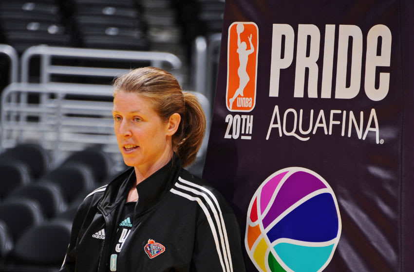 LOS ANGELES, CA - JUNE 7: Assistant Head Coach Katie Smith of the New York Liberty looks on before the game against the Los Angeles Sparks on June 7, 2016 at Staples Center in Los Angeles, California. NOTE TO USER: User expressly acknowledges and agrees that, by downloading and or using this photograph, User is consenting to the terms and conditions of the Getty Images License Agreement. Mandatory Copyright Notice: Copyright 2016 NBAE (Photo by Juan Ocampo/NBAE via Getty Images)