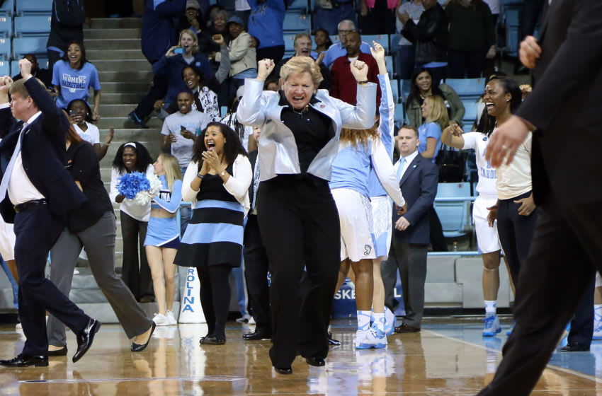 23 March 2015: UNC head coach Sylvia Hatchell dances with joy at the end of the game. The University of North Carolina Tar Heels hosted the Ohio State University Buckeyes at Carmichael Arena in Chapel Hill, North Carolina in a 2014-15 NCAA Division I Women's Basketball Tournament second round game. UNC won the game 86-84. (Photo by Andy Mead/YCJ/Icon Sportswire/Corbis via Getty Images)