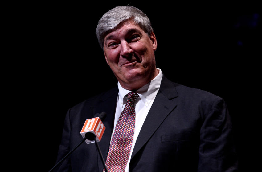 LAS VEGAS, NV - DECEMBER 11: Head coach and President of Basketball Operations Bill Laimbeer speaks during a news conference as the WNBA and MGM Resorts International announce the Las Vegas Aces as the name of their franchise at the House of Blues Las Vegas inside Mandalay Bay Resort and Casino on December 11, 2017 in Las Vegas, Nevada. In October, the league announced that the San Antonio Stars would relocate to Las Vegas and begin play in the 2018 season at the Mandalay Bay Events Center. (Photo by Brandon Magnus/Getty Images)