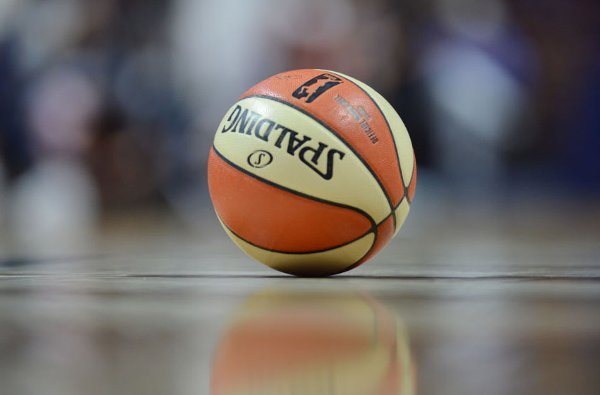 UNCASVILLE, CT - AUGUST 04: The WNBA basketball lays on the court during the game as the Connecticut Sun host the Phoenix Mercury on August 04, 2017 at the Mohegan Sun Arena in Uncasville, Connecticut. (Photo by Williams Paul/Icon Sportswire via Getty Images)