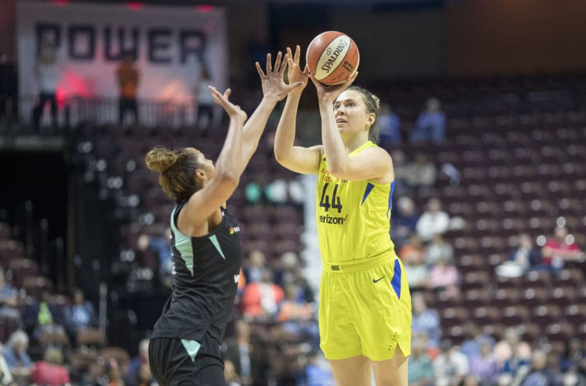 UNCASVILLE, CONNECTICUT- May 7: Ruth Hamblin #44 of the Dallas Wings shoots while defended by Mercedes Russell #2 of the New York Liberty during the Dallas Wings Vs New York Liberty, WNBA pre season game at Mohegan Sun Arena on May 7, 2018 in Uncasville, Connecticut. (Photo by Tim Clayton/Corbis via Getty Images)