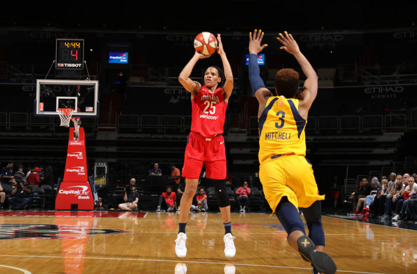 WASHINGTON, DC - MAY 20: Monique Currie #25 of the Washington Mystics shoots the ball against the Indiana Fever on May 20, 2018 at Capital One Arena in Washington, DC. NOTE TO USER: User expressly acknowledges and agrees that, by downloading and or using this photograph, User is consenting to the terms and conditions of the Getty Images License Agreement. Mandatory Copyright Notice: Copyright 2018 NBAE (Photo by Stephen Gosling/NBAE via Getty Images)