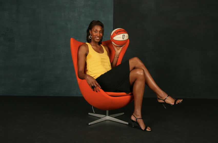 PHOENIX - FEBRUARY 13: Lisa Leslie #9 of the Los Angeles Sparks poses for a portrait during the 2009 NBAE Circuit as part of the 2009 NBA All-Star Weekend on February 13, 2009 at the Sheraton Downtown Hotel in Phoenix, Arizona. NOTE TO USER:User expressly acknowledges and agrees that, by downloading and/or using this Photograph, user is consenting to the terms and conditions of the Getty Images License Agreement. Mandatory Copyright Notice: Copyright 2009 NBAE (Photo by Nathaniel S. Butler/NBAE via Getty Images).