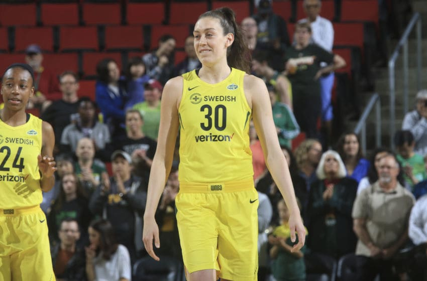 SEATTLE, WA - MAY 25: Breanna Stewart #30 of the Seattle Storm reacts during game against the Chicago Sky on May 25, 2018 at Key Arena in Seattle, Washington. NOTE TO USER: User expressly acknowledges and agrees that, by downloading and/or using this Photograph, user is consenting to the terms and conditions of Getty Images License Agreement. Mandatory Copyright Notice: Copyright 2018 NBAE (Photo by Joshua Huston/NBAE via Getty Images)