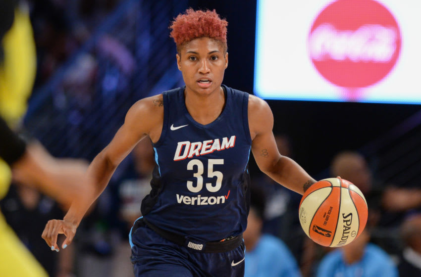 ATLANTA, GA JULY 22: Atlanta's Angel McCoughtry (35) brings the ball up the court during the WNBA game between Atlanta and Seattle on July 22, 2018 at Hank McCamish Pavilion in Atlanta, GA. The Atlanta Dream defeated the Seattle Storm by a score of 87 74. (Photo by Rich von Biberstein/Icon Sportswire via Getty Images)