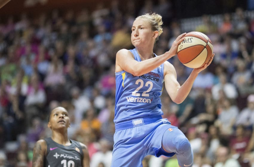 UNCASVILLE, CONNECTICUT- August 12: Courtney Vandersloot #22 of the Chicago Sky in action during the Connecticut Sun Vs Chicago Sky, WNBA regular season game at Mohegan Sun Arena on August 12, 2018 in Uncasville, Connecticut. (Photo by Tim Clayton/Corbis via Getty Images)