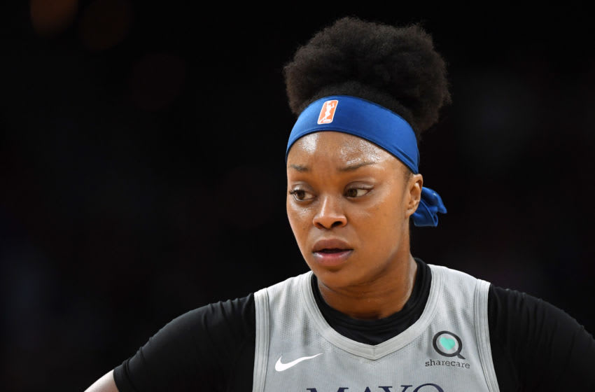 LAS VEGAS, NEVADA - JULY 21: Odyssey Sims #1 of the Minnesota Lynx stands on the court during a game against the Las Vegas Aces at the Mandalay Bay Events Center on July 21, 2019 in Las Vegas, Nevada. The Aces defeated the Lynx 79-74. NOTE TO USER: User expressly acknowledges and agrees that, by downloading and or using this photograph, User is consenting to the terms and conditions of the Getty Images License Agreement. (Photo by Ethan Miller/Getty Images)