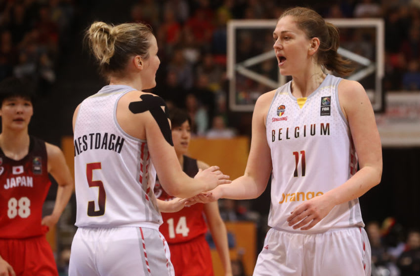 Belgian Cats Kim Mestdagh and Belgian Cats Emma Meesseman pictured during the second basketball match between Belgium's national team The Belgian Cats and Japan, at the women's Basketball Olympic qualification tournament Saturday 08 February 2020 in Oostende. BELGA PHOTO VIRGINIE LEFOUR (Photo by VIRGINIE LEFOUR/BELGA MAG/AFP via Getty Images)