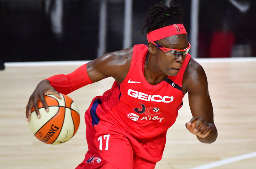 PALMETTO, FLORIDA - AUGUST 09: Essence Carson #17 of the Washington Mystics dribbles in the first half of a game against the Indiana Fever at Feld Entertainment Center on August 09, 2020 in Palmetto, Florida. NOTE TO USER: User expressly acknowledges and agrees that, by downloading and or using this photograph, User is consenting to the terms and conditions of the Getty Images License Agreement. (Photo by Julio Aguilar/Getty Images)