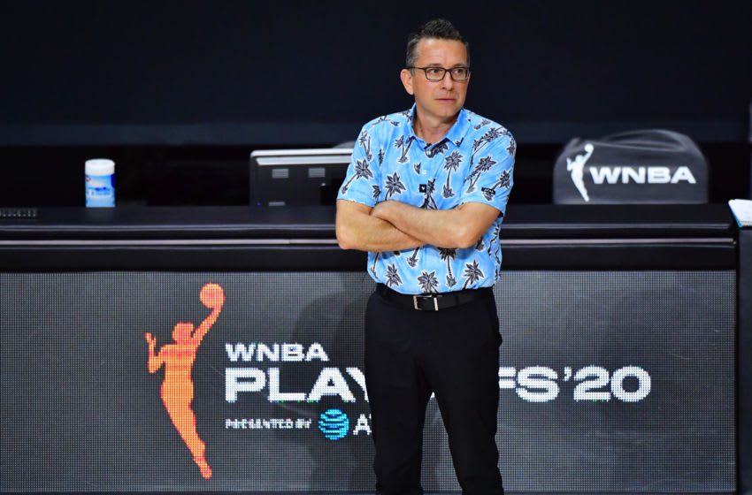 PALMETTO, FLORIDA - SEPTEMBER 17: Head coach Curt Miller of the Connecticut Sun looks on during the first half against the Los Angeles Sparks in Game One of their Second Round playoff at Feld Entertainment Center on September 17, 2020 in Palmetto, Florida. NOTE TO USER: User expressly acknowledges and agrees that, by downloading and or using this photograph, User is consenting to the terms and conditions of the Getty Images License Agreement. (Photo by Julio Aguilar/Getty Images)