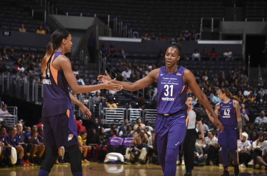 LOS ANGELES, CA - MAY 27: DeWanna Bonner #24 and Sancho Lyttle #31 of the Phoenix Mercury reacts during game against the Los Angeles Sparks on May 27, 2018 at STAPLES Center in Los Angeles, California. NOTE TO USER: User expressly acknowledges and agrees that, by downloading and or using this photograph, User is consenting to the terms and conditions of the Getty Images License Agreement. Mandatory Copyright Notice: Copyright 2018 NBAE (Photo by Adam Pantozzi/NBAE via Getty Images)