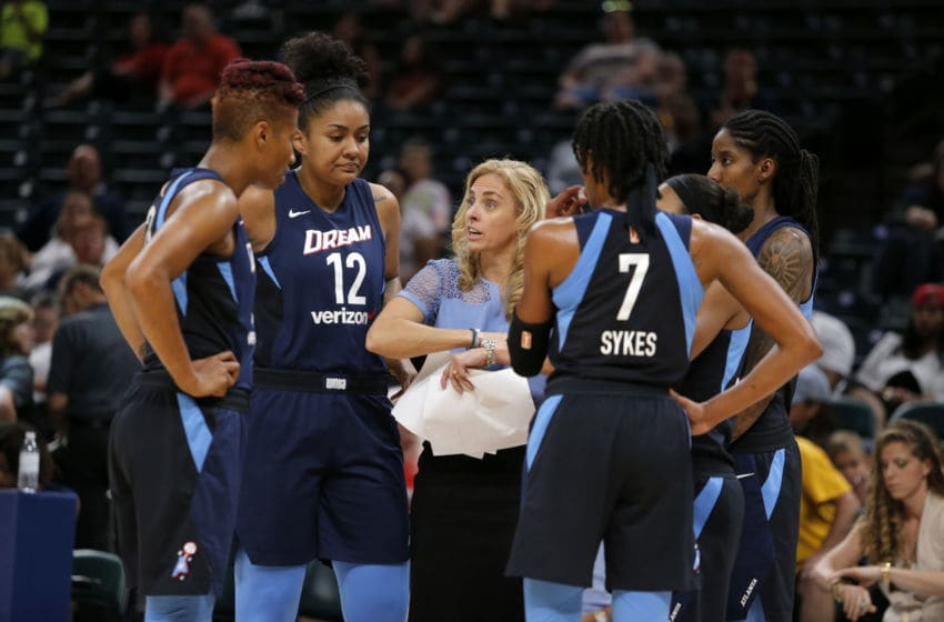 INDIANAPOLIS, IN JUL 01 2018: Atlanta Dream Head Coach Nicki Collen talks with her team during a time out during the game between the Atlanta Dream and Indiana Fever July 01, 2018, at Bankers Life Fieldhouse in Indianapolis, IN. (Photo by Jeffrey Brown/Icon Sportswire via Getty Images)