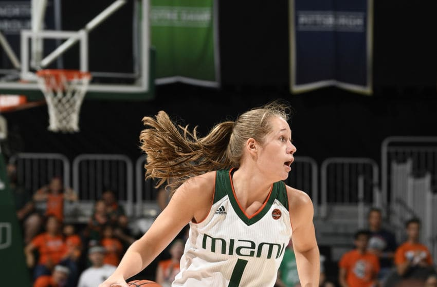 CORAL GABLES, FL - FEBRUARY 26: Miami guard Laura Cornelius (1) dribbles during a women's college basketball game between the Georgia Tech Yellow Jackets and the University of Miami Hurricanes on February 26, 2017 at Watsco Center, Coral Gables, Florida. Miami defeated Georgia Tech 75-70. (Photo by Richard C. Lewis/Icon Sportswire via Getty Images)
