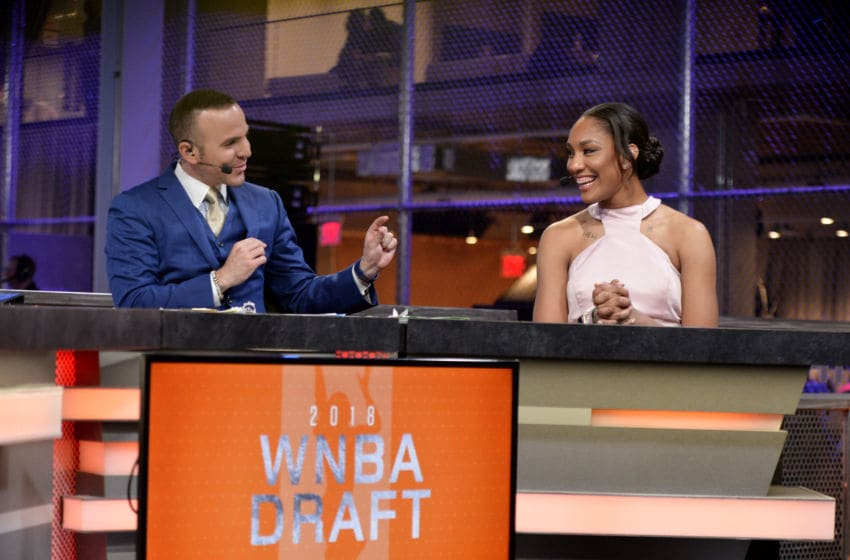 NEW YORK, NY - APRIL 12: A'ja Wilson of the Las Vegas Aces speaks with the media during the WNBA Draft 2018 on April 12, 2018 at Nike New York Headquarters in New York, New York. NOTE TO USER: User expressly acknowledges and agrees that, by downloading and or using this Photograph, user is consenting to the terms and conditions of the Getty Images License Agreement. Mandatory Copyright Notice: Copyright 2018 NBAE (Photo by David Dow/NBAE via Getty Images)