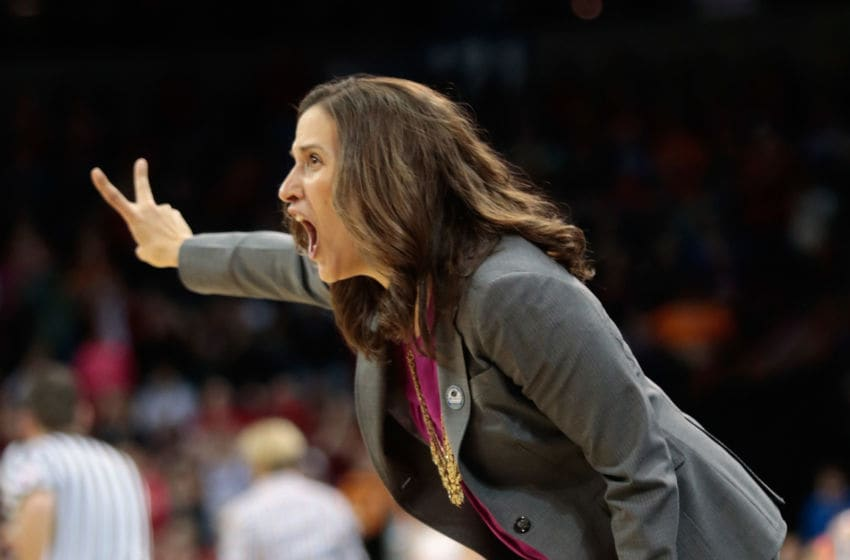 SPOKANE, WA - MARCH 28: Head coach Lisa Fortier of the Gonzaga Bulldogs directs her players in the game against the Tennessee Lady Vols during the third round of the 2015 NCAA Division I Women's Basketball Tournament at Spokane Veterans Memorial Arena on March 28, 2015 in Spokane, Washington. Tennessee defeated Gonzaga 73-69 in overtime. (Photo by William Mancebo/Getty Images)