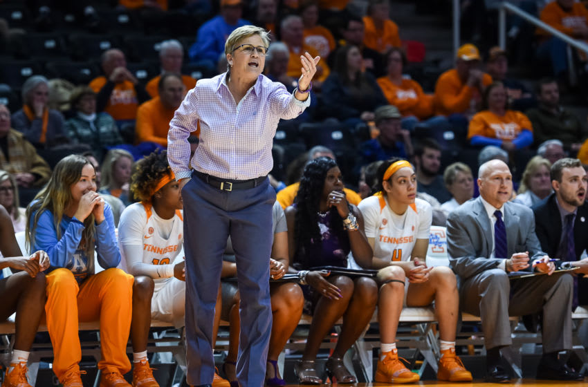 KNOXVILLE, TN - JANUARY 21: Tennessee Lady Volunteers head coach Holly Warlick coaching during a college basketball game between the Tennessee Lady Volunteers and Arkansas Razorbacks on January 21, 2019, at Thompson-Boling Arena in Knoxville, TN. (Photo by Bryan Lynn/Icon Sportswire via Getty Images)
