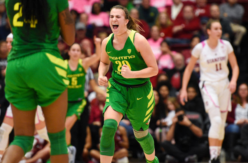 PALO ALTO, CA - FEBRUARY 10: Oregon Guard Sabrina Ionescu (20) roars in celebration during the women's basketball game between the Oregon Ducks and the Stanford Cardinal at Maples Pavilion on February 10, 2019 in Palo Alto, CA. (Photo by Cody Glenn/Icon Sportswire via Getty Images)