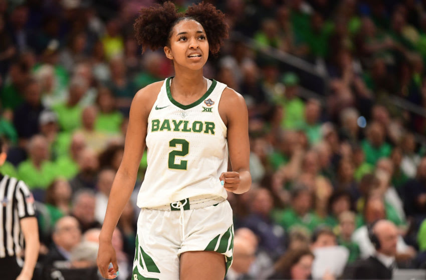 TAMPA, FL - APRIL 05: DiDi Richards #2 of the Baylor Bears celebrates their win over the Oregon Ducks at Amalie Arena on April 5, 2019 in Tampa, Florida. (Photo by Ben Solomon/NCAA Photos via Getty Images)