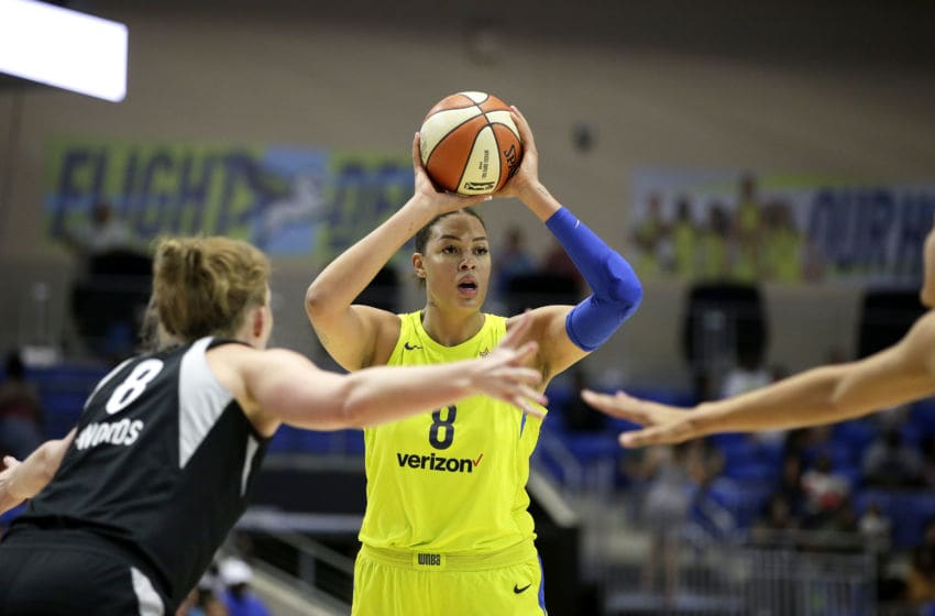 ARLINGTON, TX - AUGUST 17: Elizabeth Cambage #8 of the Dallas Wings looks to pass the ball against the Las Vegas Aces on August 17, 2018 at College Park Center in Arlington, Texas. NOTE TO USER: User expressly acknowledges and agrees that, by downloading and or using this photograph, user is consenting to the terms and conditions of the Getty Images License Agreement. Mandatory Copyright Notice: Copyright 2018 NBAE (Photos by Tim Heitman/NBAE via Getty Images)