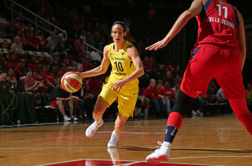 WASHINGTON D.C - SEPTEMBER 12: Sue Bird #10 of the Seattle Storm drives to the basket against the Washington Mystics in Game Three of the 2018 WNBA Finals on September 12, 2018 at George Mason University in Washington D.C. NOTE TO USER: User expressly acknowledges and agrees that, by downloading and/or using this Photograph, user is consenting to the terms and conditions of Getty Images License Agreement. Mandatory Copyright Notice: Copyright 2018 NBAE (Photo by Ned Dishman/NBAE via Getty Images)
