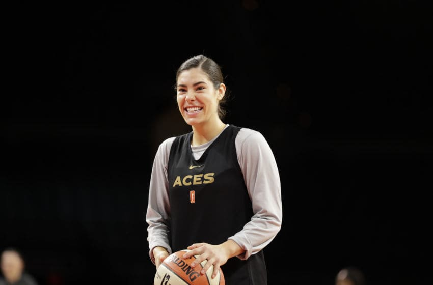 LAS VEGAS, NV - MAY 24: Kelsey Plum #10 of the Las Vegas Aces enjoys a laugh during a practice on May 24, 2019 at the Mandalay Bay Events Center in Las Vegas, Nevada. NOTE TO USER: User expressly acknowledges and agrees that, by downloading and or using this photograph, User is consenting to the terms and conditions of the Getty Images License Agreement. Mandatory Copyright Notice: Copyright 2019 NBAE (Photo by Isaac Brekken/NBAE via Getty Images)