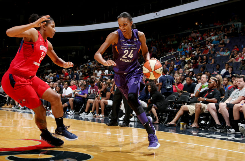 WASHINGTON, DC - JUNE 30: DeWanna Bonner #24 of the Phoenix Mercury handles the ball against the Washington Mystics on June 30, 2018 at the Verizon Center in Washington, DC. NOTE TO USER: User expressly acknowledges and agrees that, by downloading and or using this photograph, User is consenting to the terms and conditions of the Getty Images License Agreement. Mandatory Copyright Notice: Copyright 2018 NBAE. (Photo by Ned Dishman/NBAE via Getty Images)