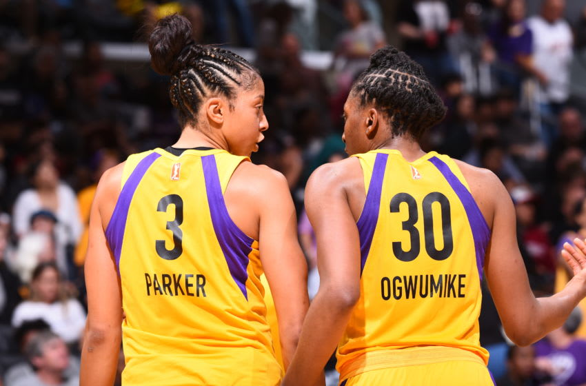 LOS ANGELES, CA - JULY 3: Candace Parker #3 of the Los Angeles Sparks and Nneka Ogwumike #30 of the Los Angeles Sparks speak during the game against the Connecticut Sun on July 3, 2018 at STAPLES Center in Los Angeles, California. NOTE TO USER: User expressly acknowledges and agrees that, by downloading and or using this photograph, User is consenting to the terms and conditions of the Getty Images License Agreement. Mandatory Copyright Notice: Copyright 2018 NBAE (Photo by Juan Ocampo/NBAE via Getty Images)