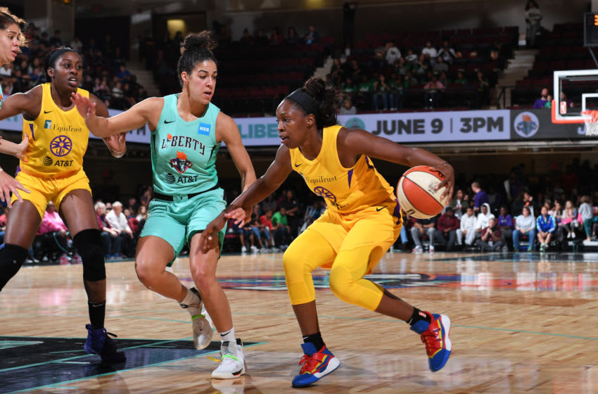 WHITE PLAINS, NY- JUNE 4: Chelsea Gray #12 of the Los Angeles Sparks handles the ball against Kia Nurse #5 of the New York Liberty on June 4, 2019 at the Westchester County Center, in White Plains, New York. NOTE TO USER: User expressly acknowledges and agrees that, by downloading and or using this photograph, User is consenting to the terms and conditions of the Getty Images License Agreement. Mandatory Copyright Notice: Copyright 2019 NBAE (Photo by Matteo Marchi/NBAE via Getty Images)